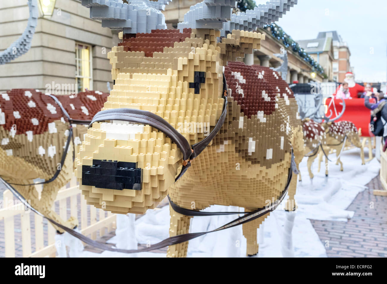 A full-size Santa's sleigh and reindeer made from 700,000 Lego bricks Covent Garden, London, - Stock Image