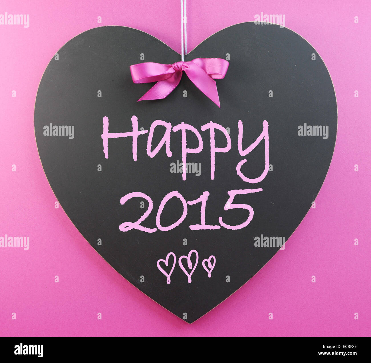 Happy New Year Greeting For 2015 Message On Heart Shape Blackboard