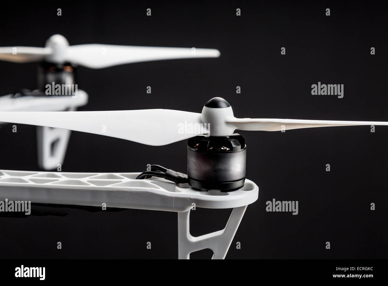 propellers of a hexacopter drone against black background - Stock Image