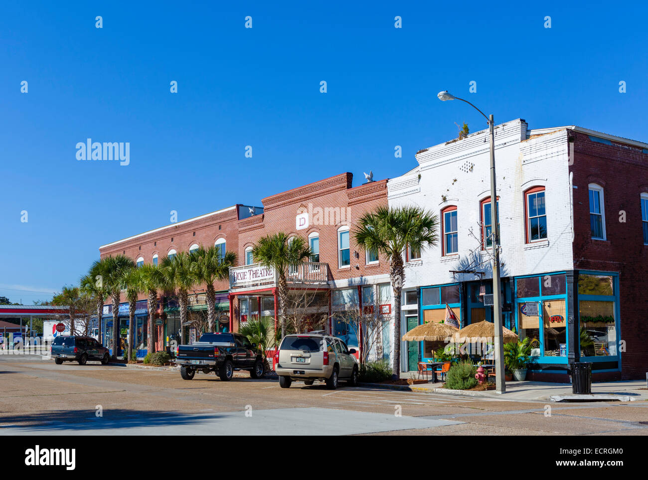 Avenue East in historic downtown Apalachicola, Franklin County, Florida, USA - Stock Image