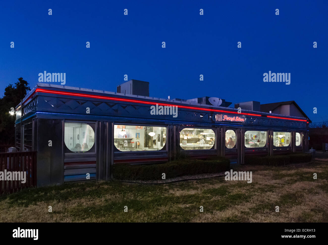 Penny's Diner, a traditional railroad car style american diner in Alpine, Texas, USA - Stock Image