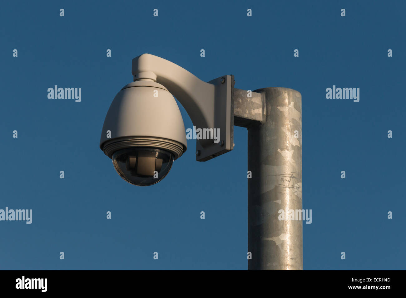 dome camera mounted on pole - Stock Image