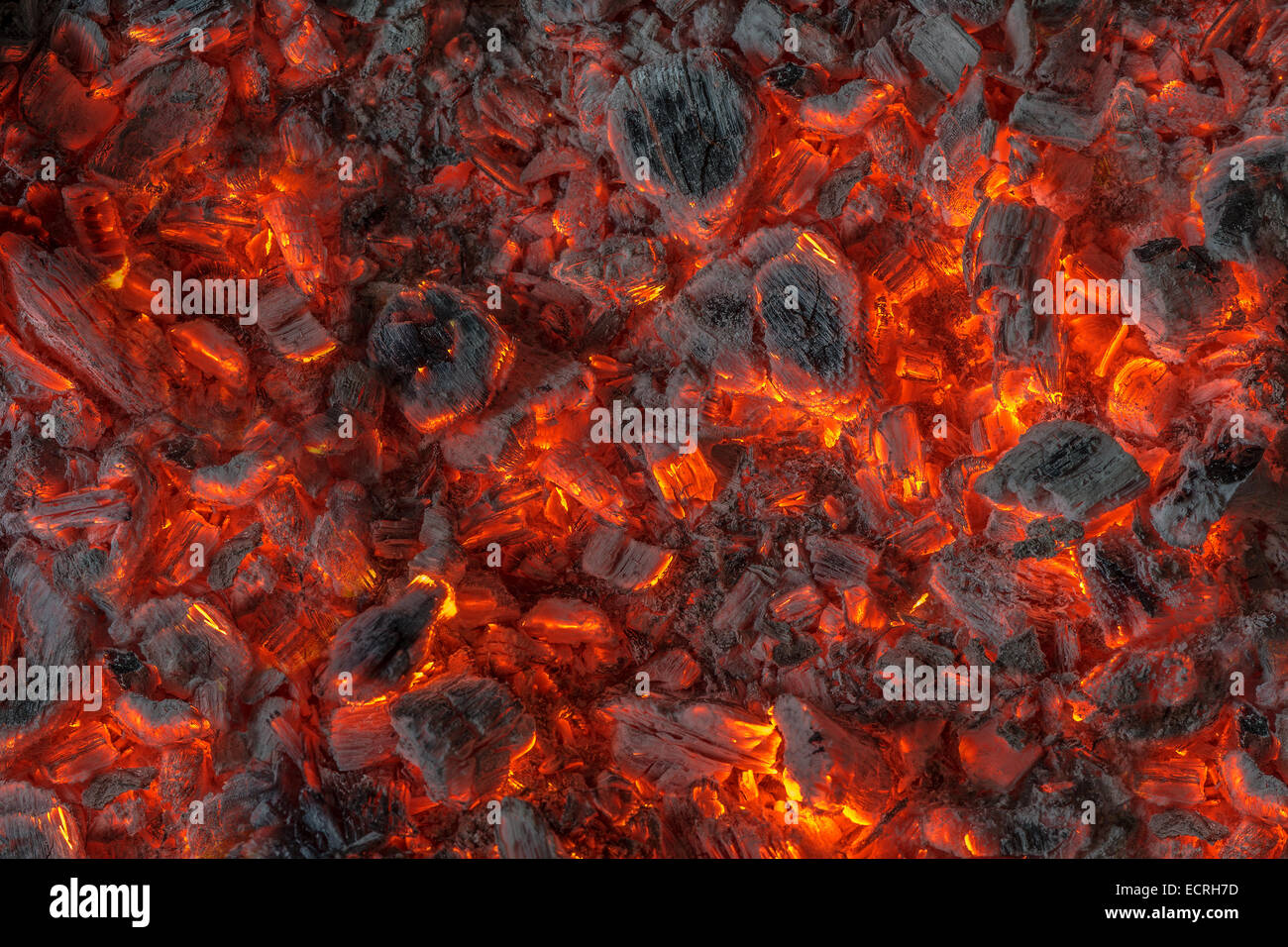 incandescent orange and red embers texture - Stock Image