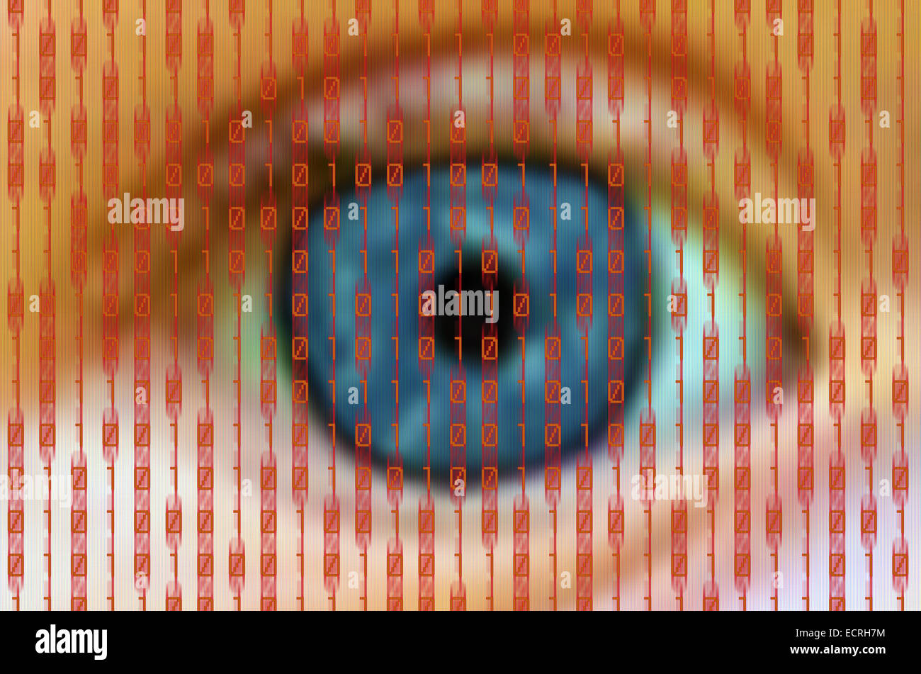 human eye behind a digital screen with red binary numbers - Stock Image