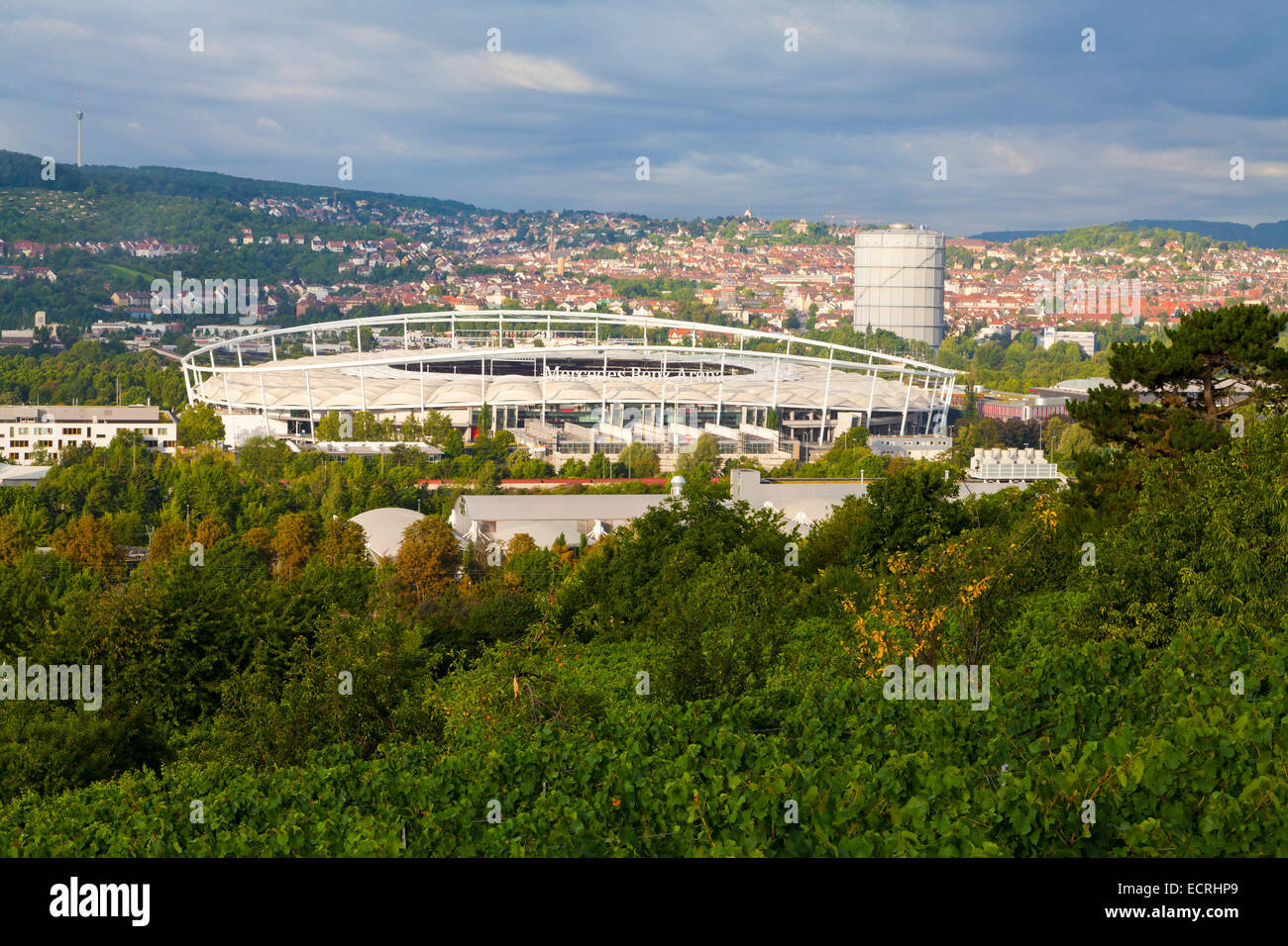 THE MERCEDES-BENZ ARENA, FOOTBALL STADIUM OF THE VFB STUTTGART, BAD CANNSTATT, STUTTGART, BADEN-WURTTEMBERG, GERMANY - Stock Image
