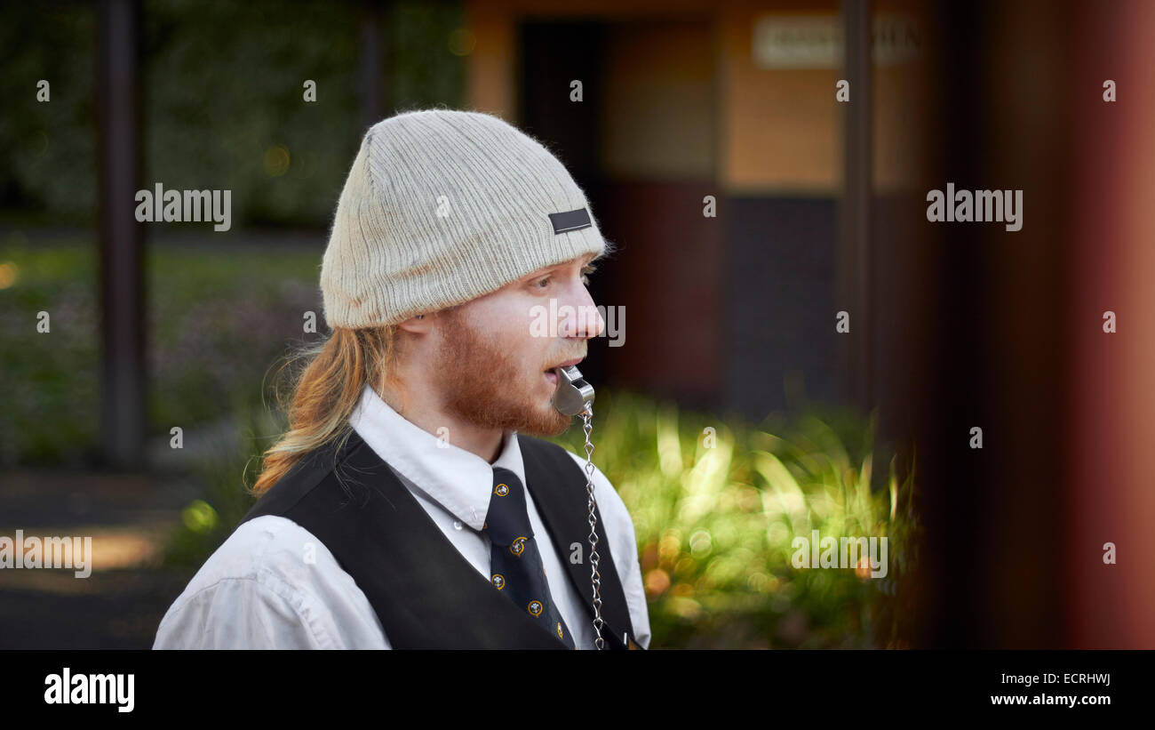 Volunteer staff working at Puffing Billy - Stock Image