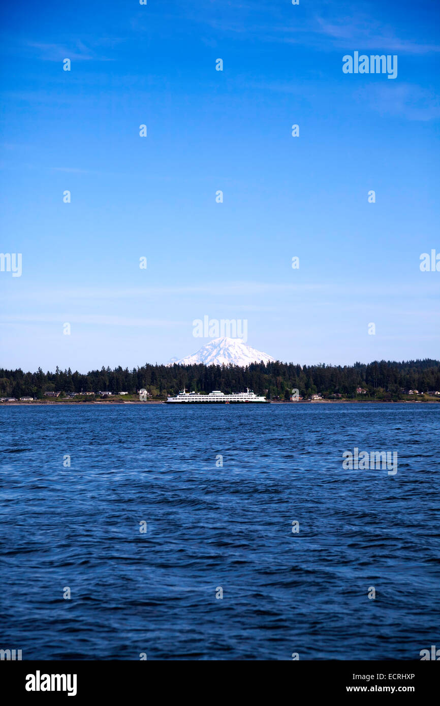 Washington State Ferry and Mt. Rainer - Stock Image