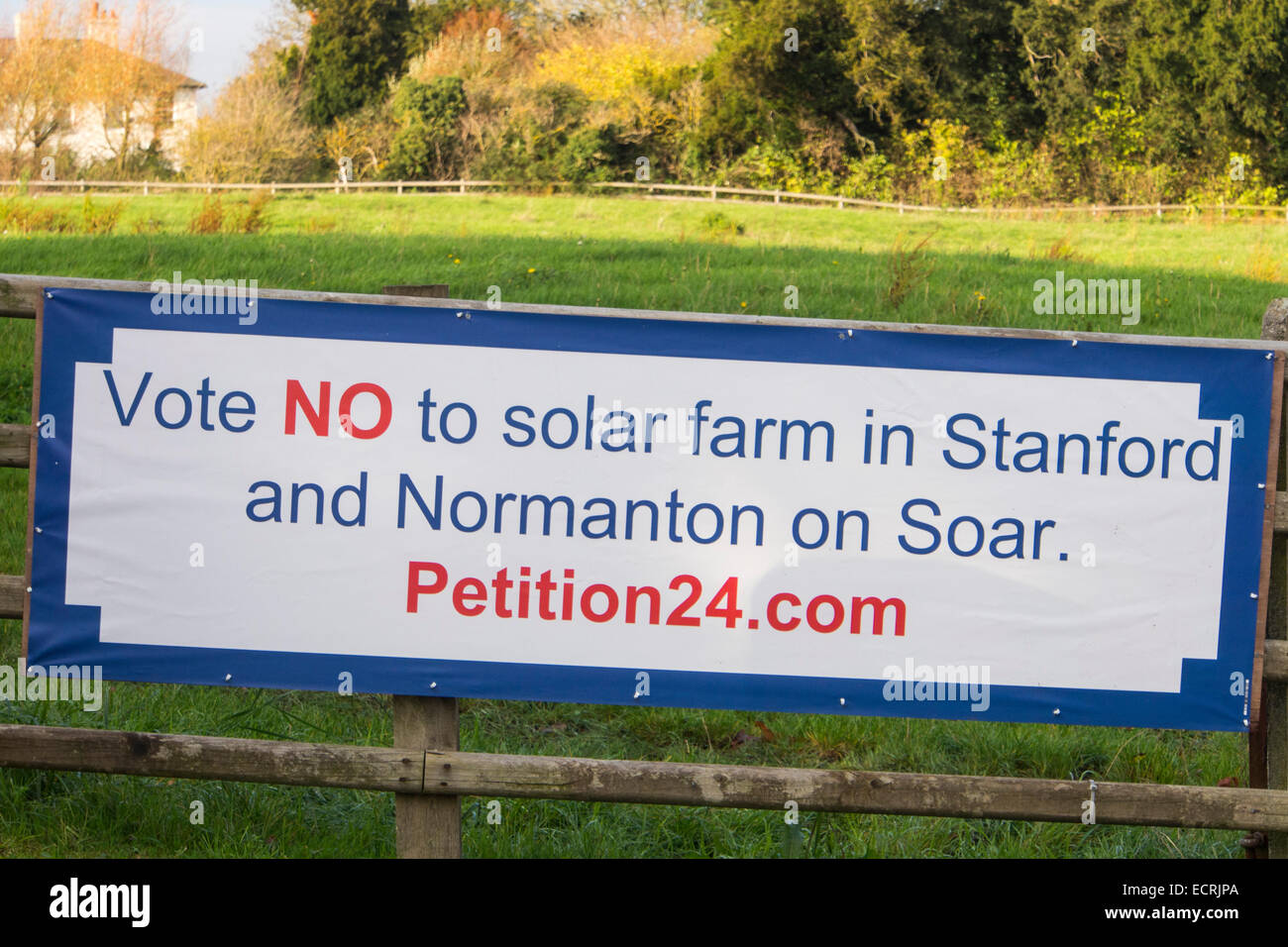 A banner in Stanford on Soar in Leicestershire protesting about a planning application for a solar power station. - Stock Image