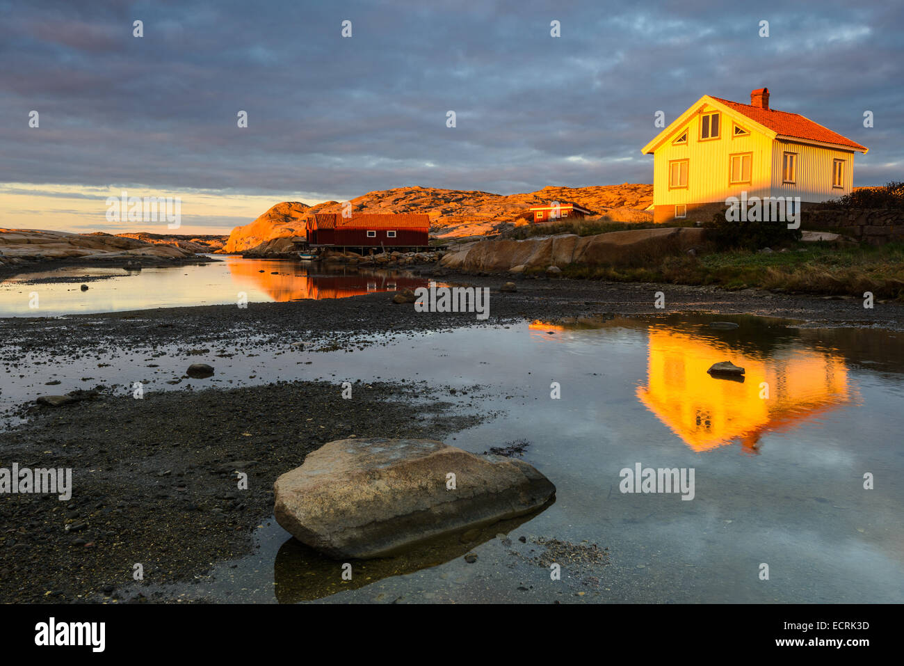 Sunset over a cottage on the shore at low tide - Stock Image