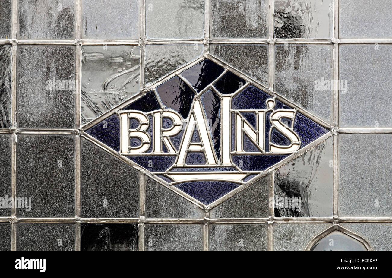 Brains beer name in leaded pub window, Cardiff, Wales, UK - Stock Image