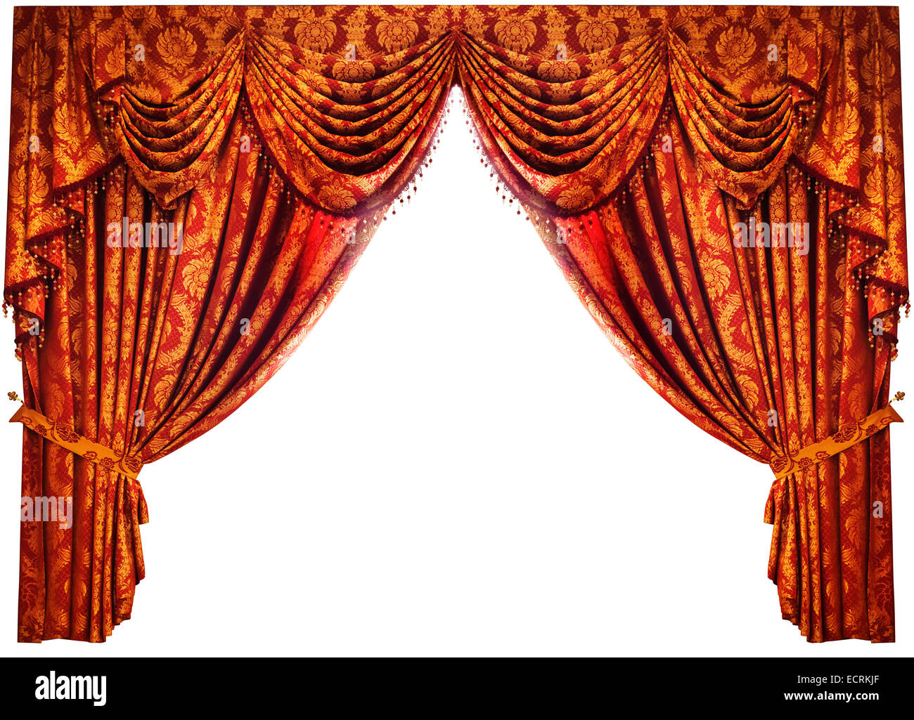 Red gold Chinese drapes luxury curtains isolated on white background with clipping path Stock Photo