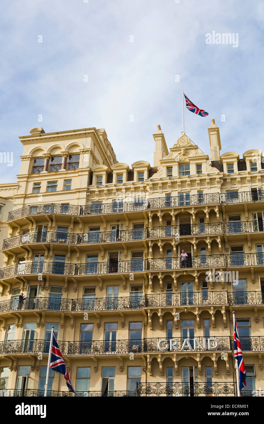 THE GRAND HOTEL, VICTORIAN HOTEL FROM 1864 AT THE SEAFRONT, BRIGHTON, SEASIDE RESORT, SUSSEX, ENGLAND, GREAT BRITAIN - Stock Image