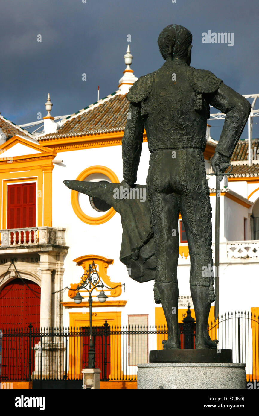 Bullfighter monument in memory of ''Pepe Luis Vázquez''. Plaza de Toros,  Seville, Andalusia, - Stock Image