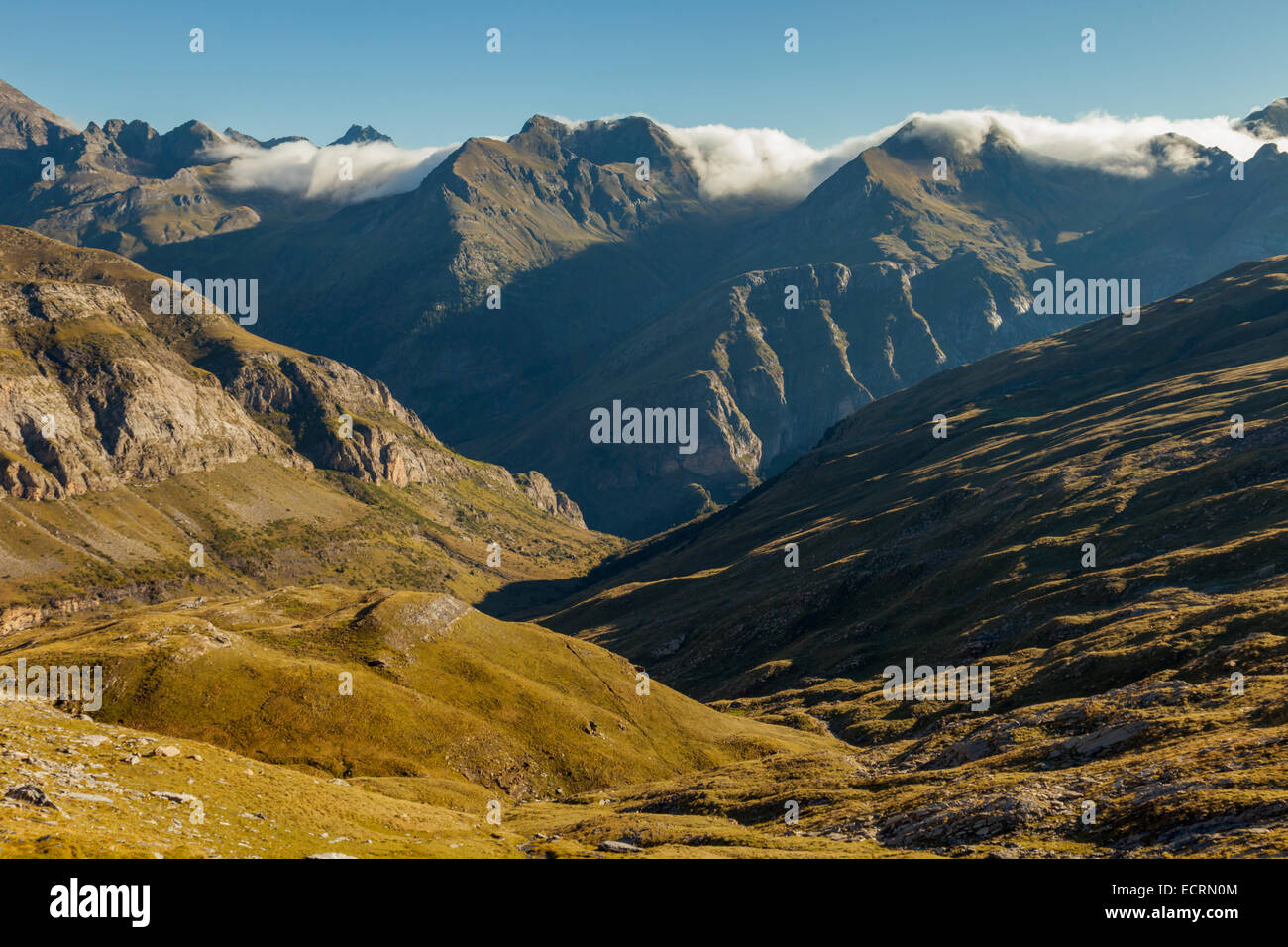 Morning in Ordiso valley. Pyrenees mountains near Torla, Spain. Stock Photo