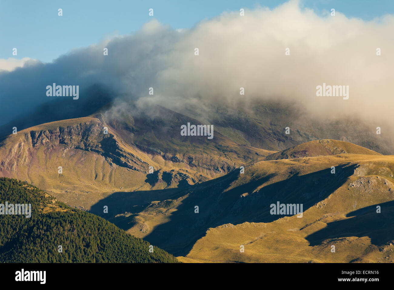 Morning in the Pyrenees mountains near the village of Gistaín, Spain. Stock Photo