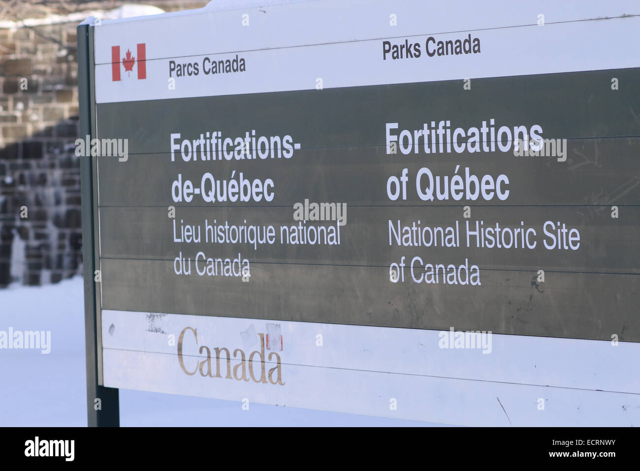 The Fortifications of Quebec sign. - Stock Image