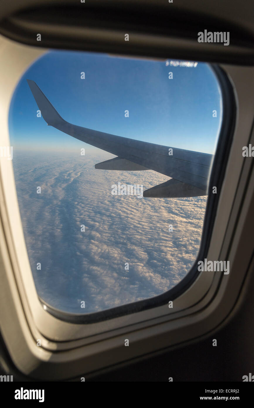 View out airplane window. Stock Photo