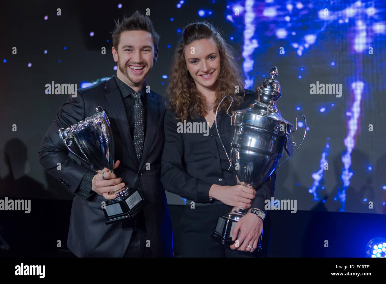 Budapest, Hungary. 18th Dec, 2014. Hungarian Sportswoman of the Year 2014 Katinka Hosszu (R) and her husband and Stock Photo