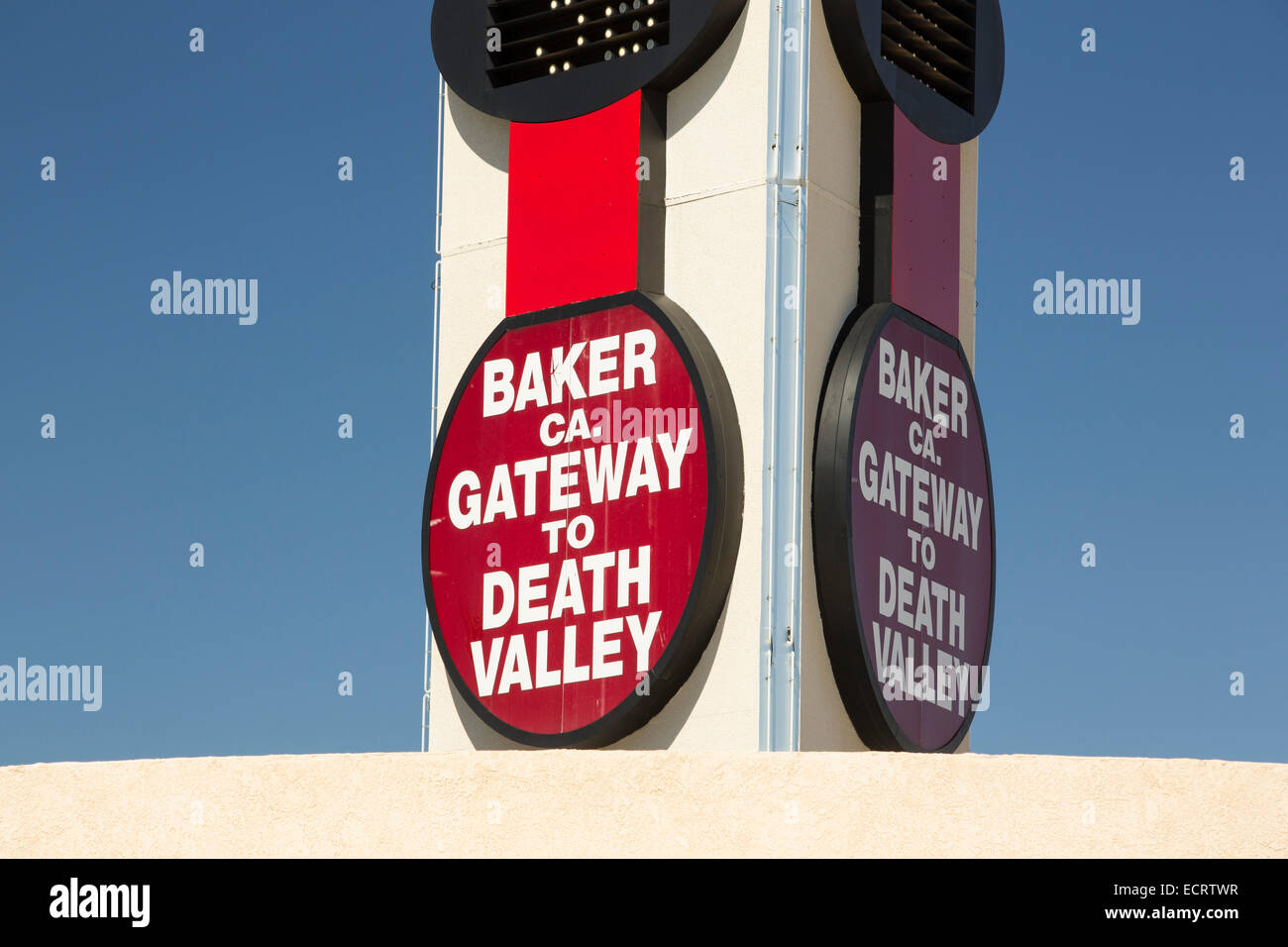 The world's largest thermometer in Baker, gateway to Death Valey, reading  102 degree fahrenheit, California, USA.