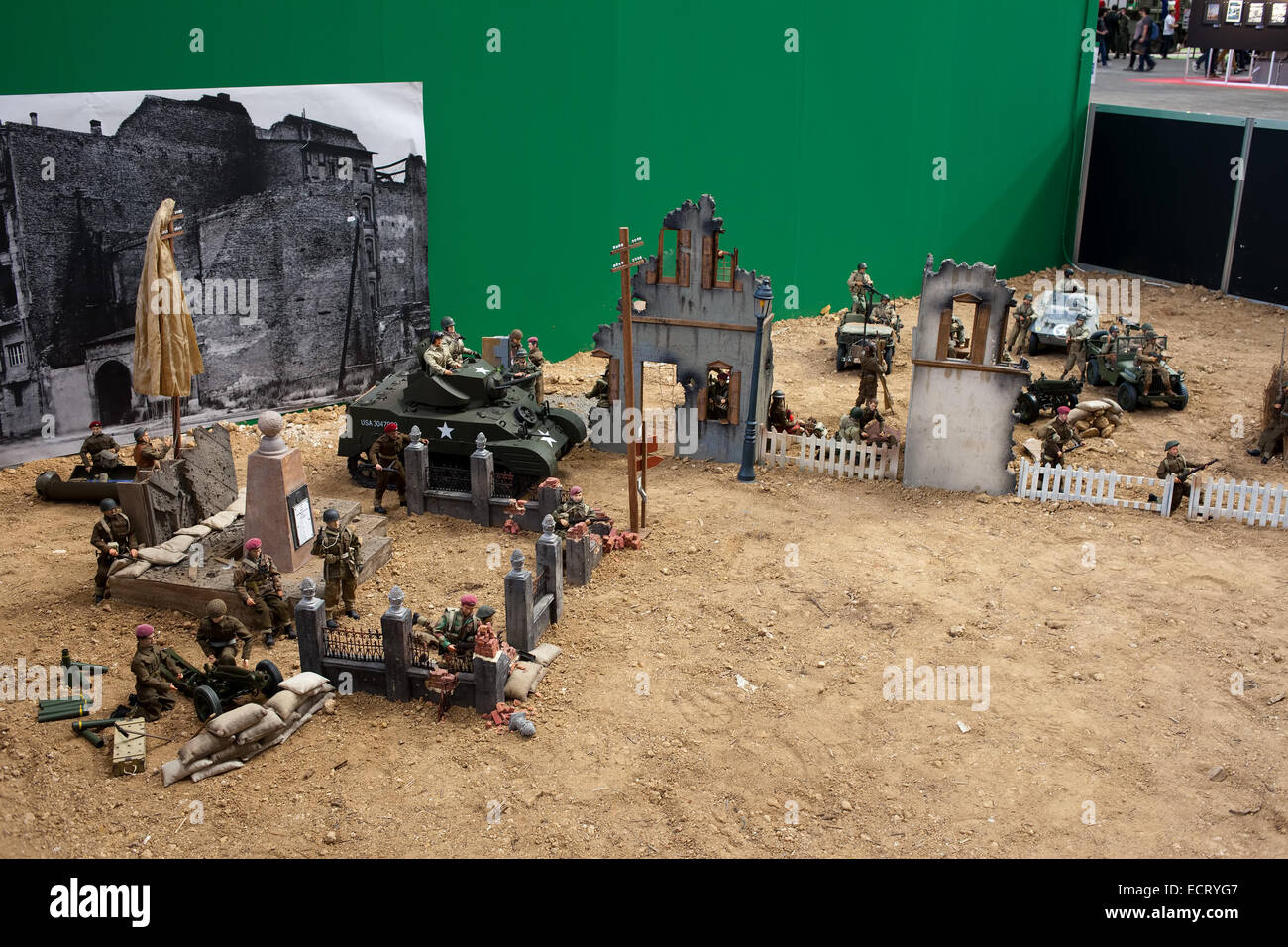 Small scale army models at 32 International Barcelona Comic Con - exhibition on the War in Catalonia, Spain. - Stock Image