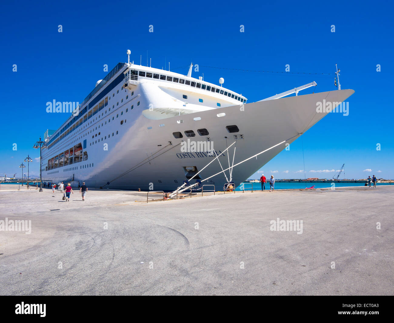 Italy  Sicily  Trapani  Harbour  Cruise liner Costa Riviera - Stock Image