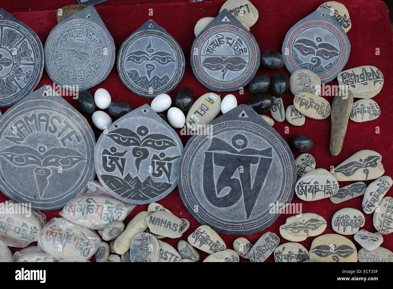 Souvenirs for sale at the entrance to Changu Narayan temple the most ancient pilgrimage site of Kathmandu valley Stock Photo