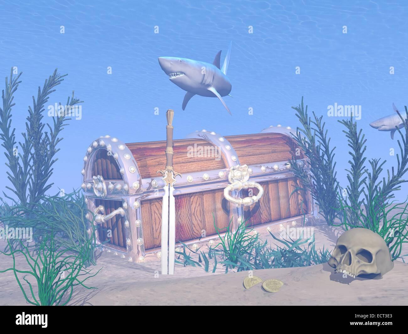 fantasy underwater scenery with lost treasure chest sword skull