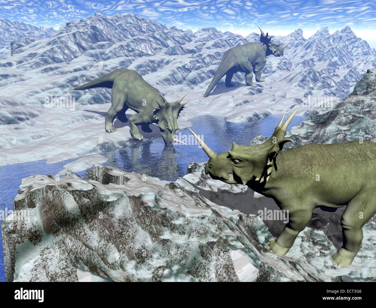 Three styracosaurus dinosaurs in icy desert landscape with water by blue day - Stock Image