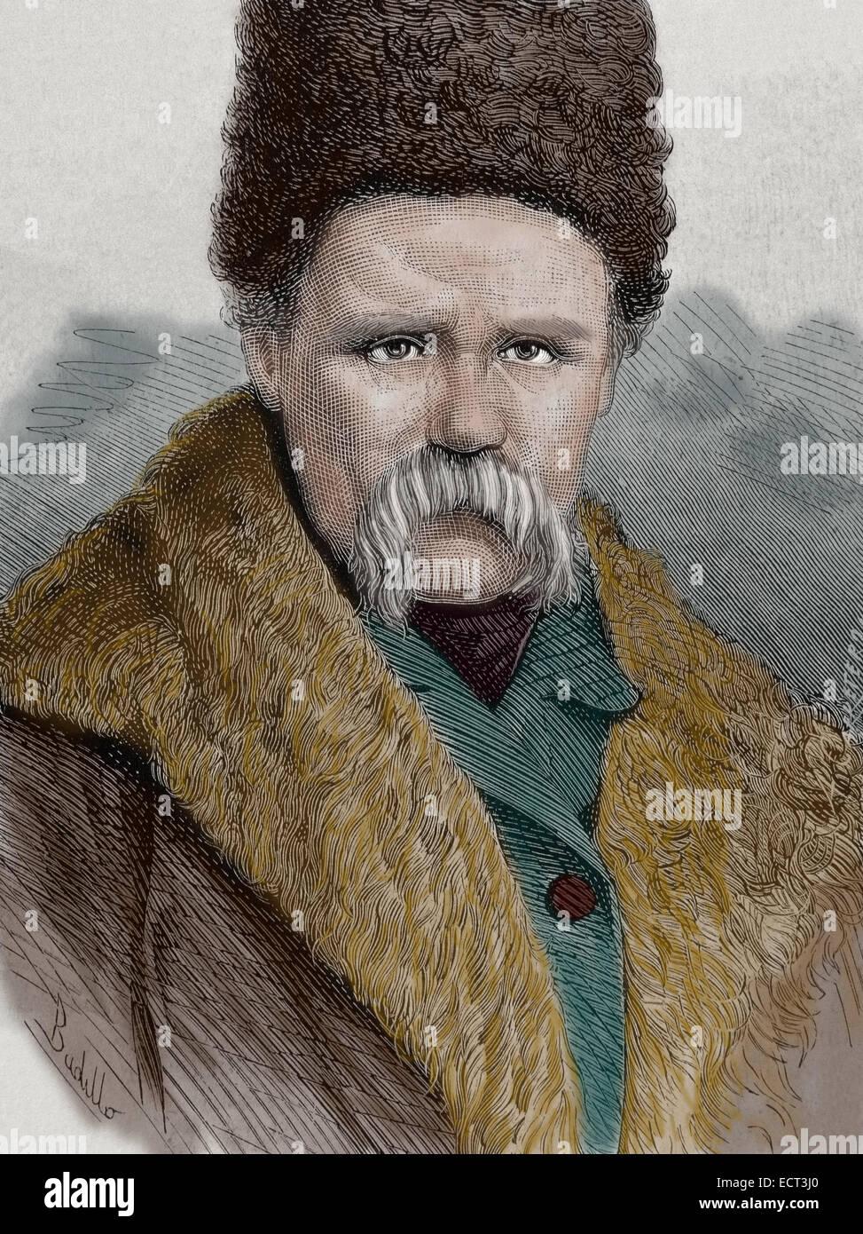 Taras Shevchenko (1814-1861). Ukrainian poet. Engraving by La Ilustracion Espanola y Americana, 1877. Colored. - Stock Image