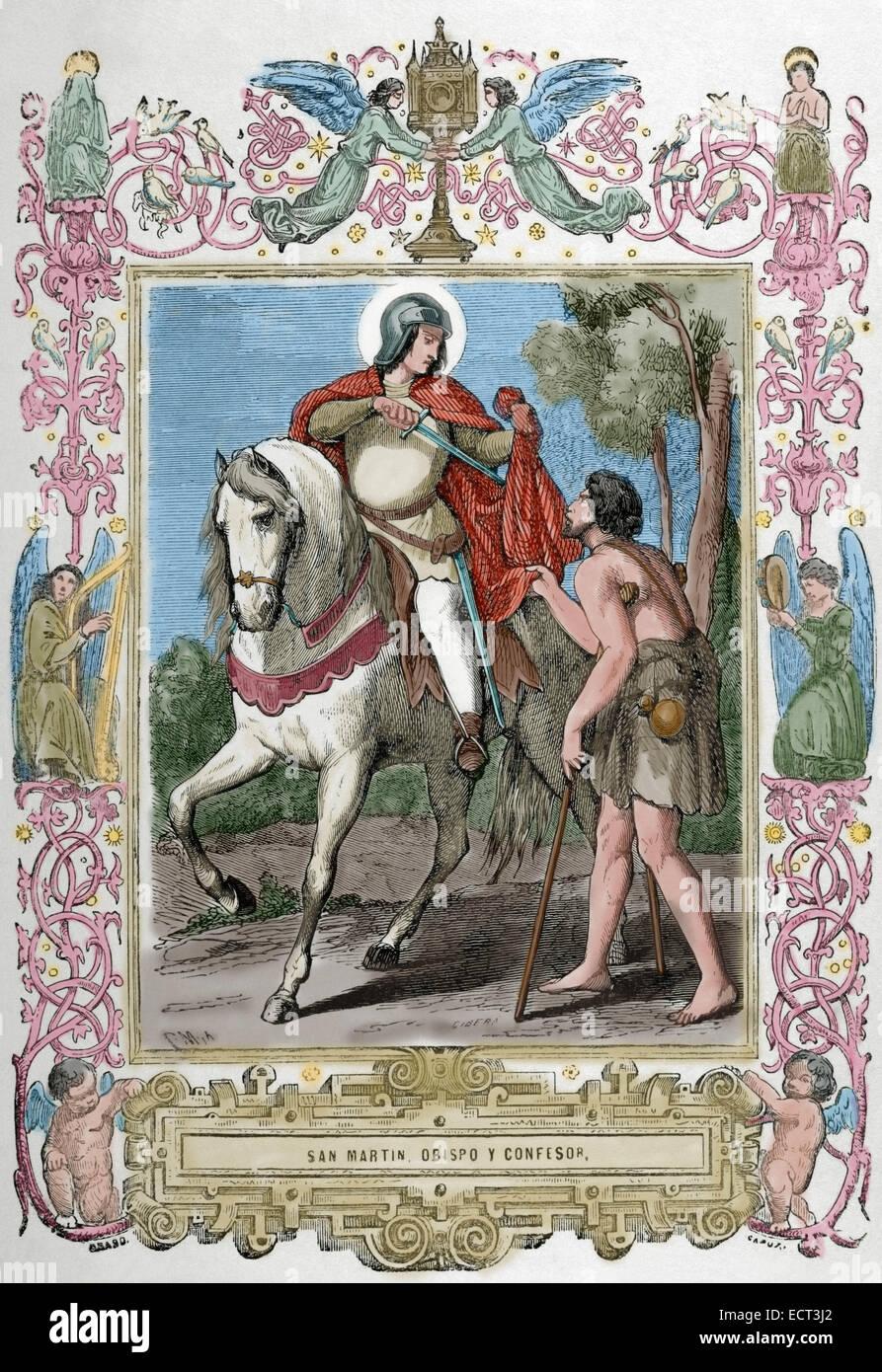 Saint Martin of Braga (520-580). Archbishop of Bracara Augusta i Gallaecia (now Braga, Portugal). St. Martin sharing - Stock Image
