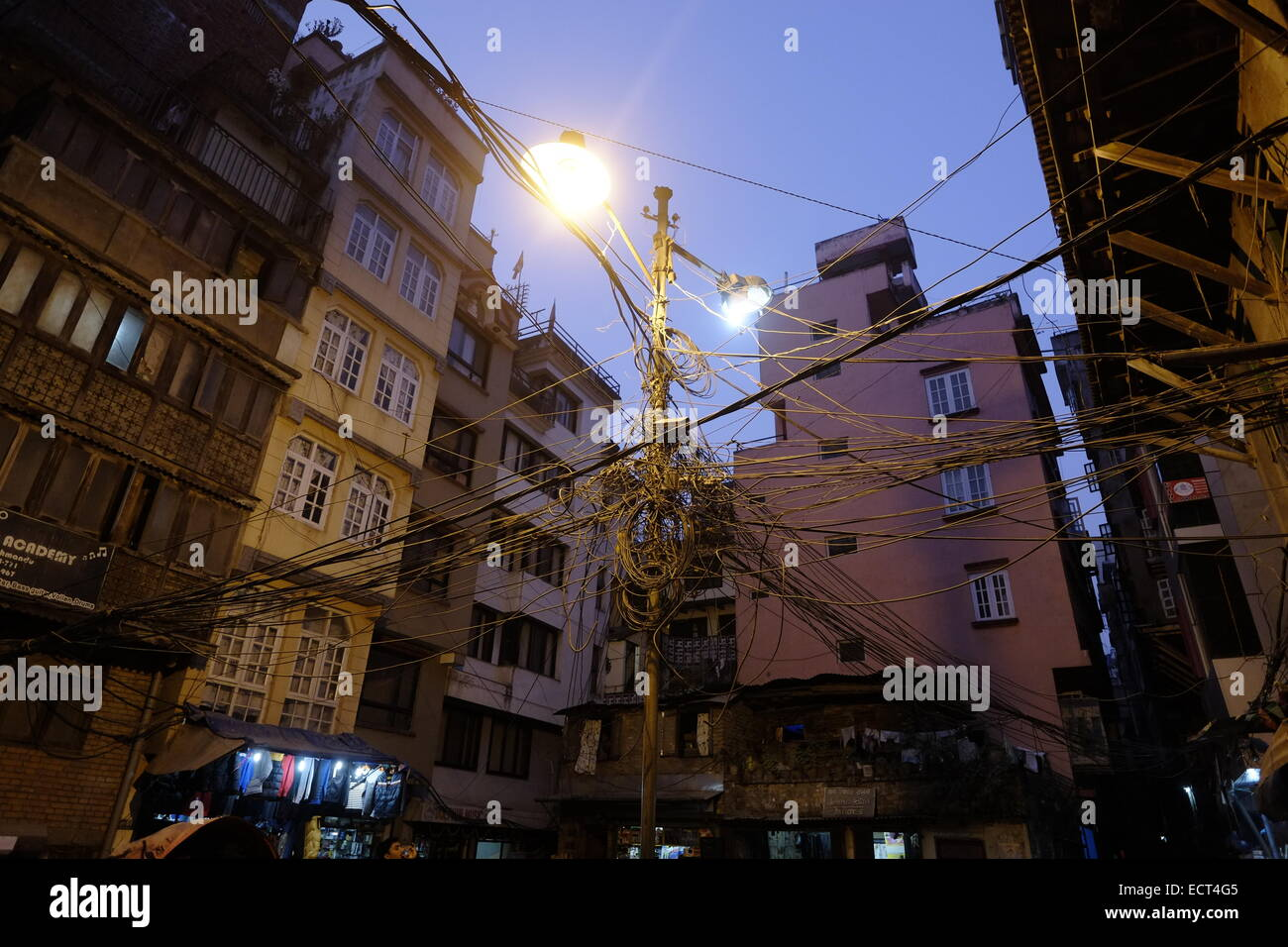 Electric Wires Street Downtown Great Installation Of Wiring Diagram In India Photo Kathmandu Nepal Stock 76747781 Alamy Rh Com Old Electrical