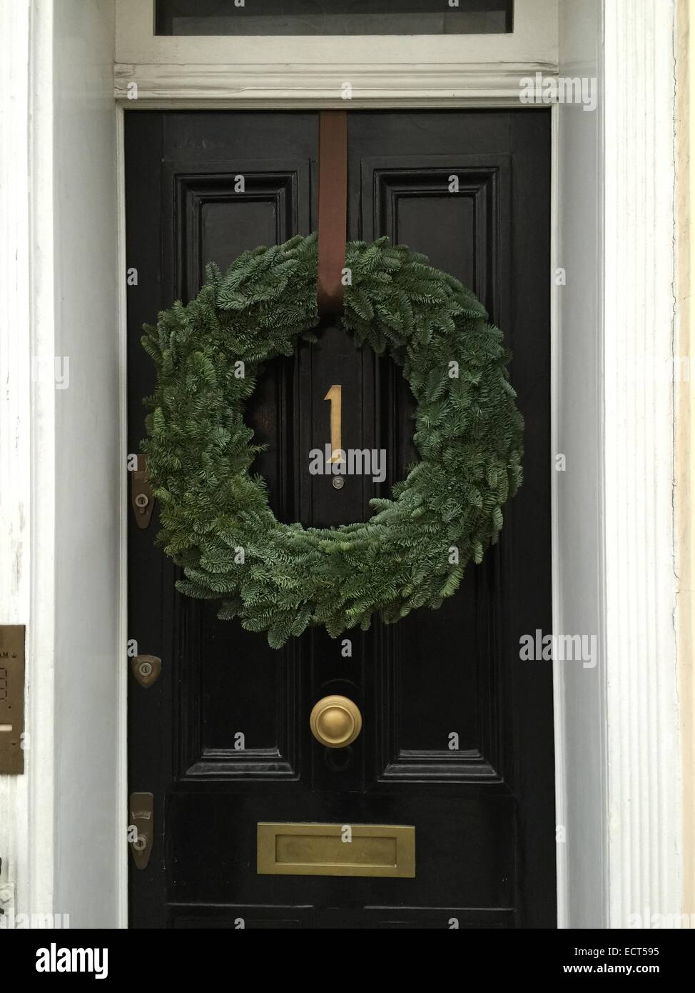 A Christmas Decorative Wreath On A Door In Belgravia, London UK.
