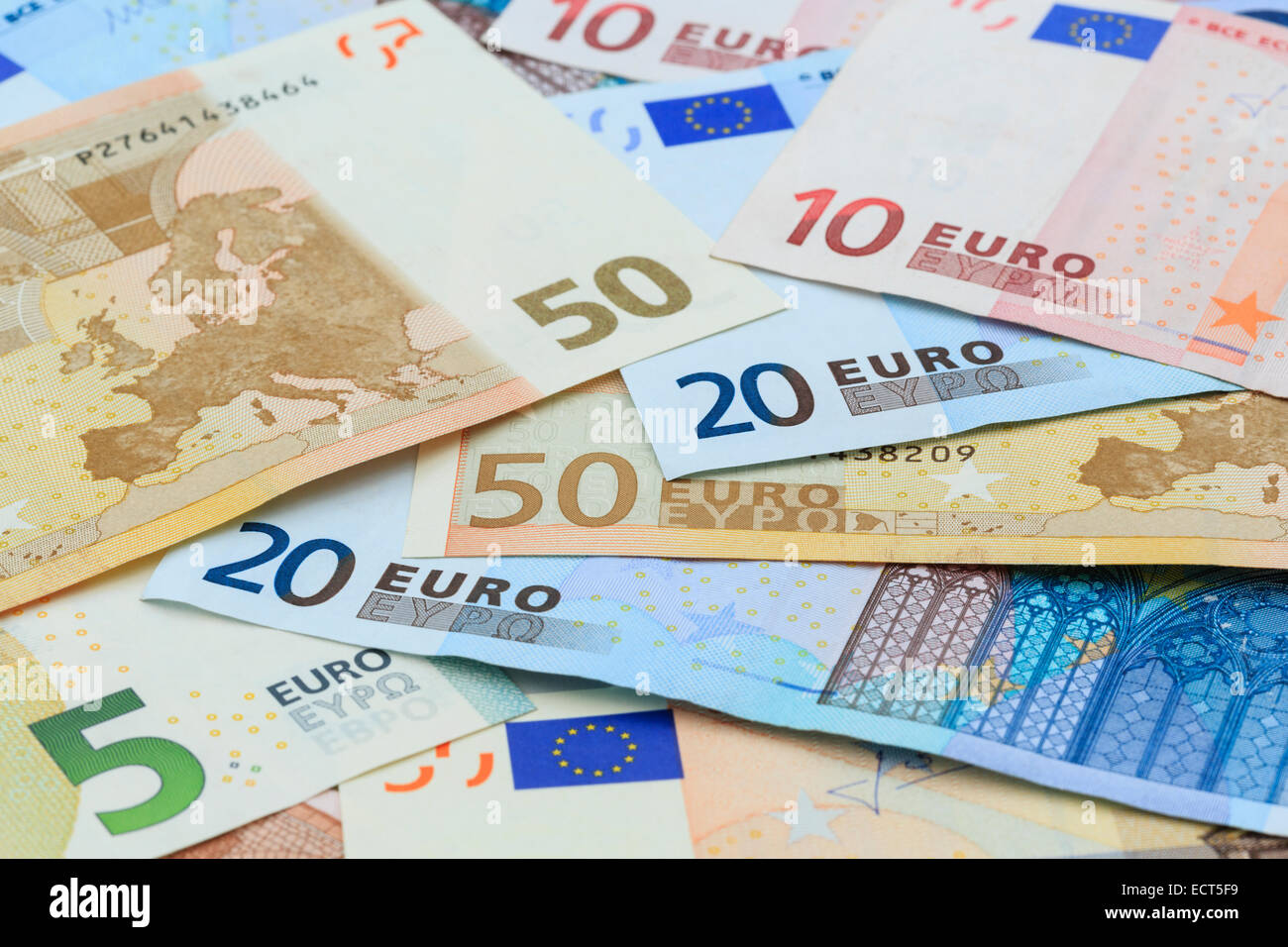 Euros in different denominations of Euro notes from the European Union Eurozone in close-up as a background. Europe - Stock Image