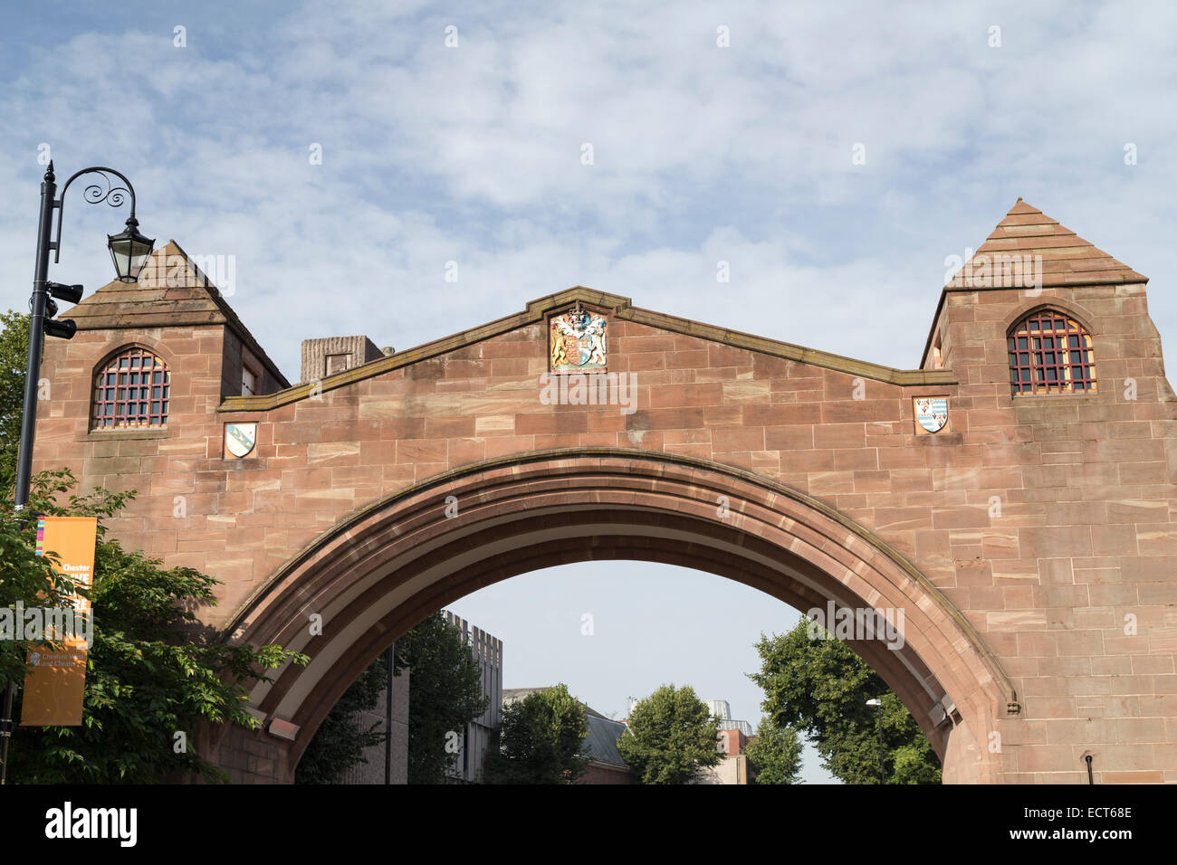 UK, Chester, Newgate arch over the road. - Stock Image