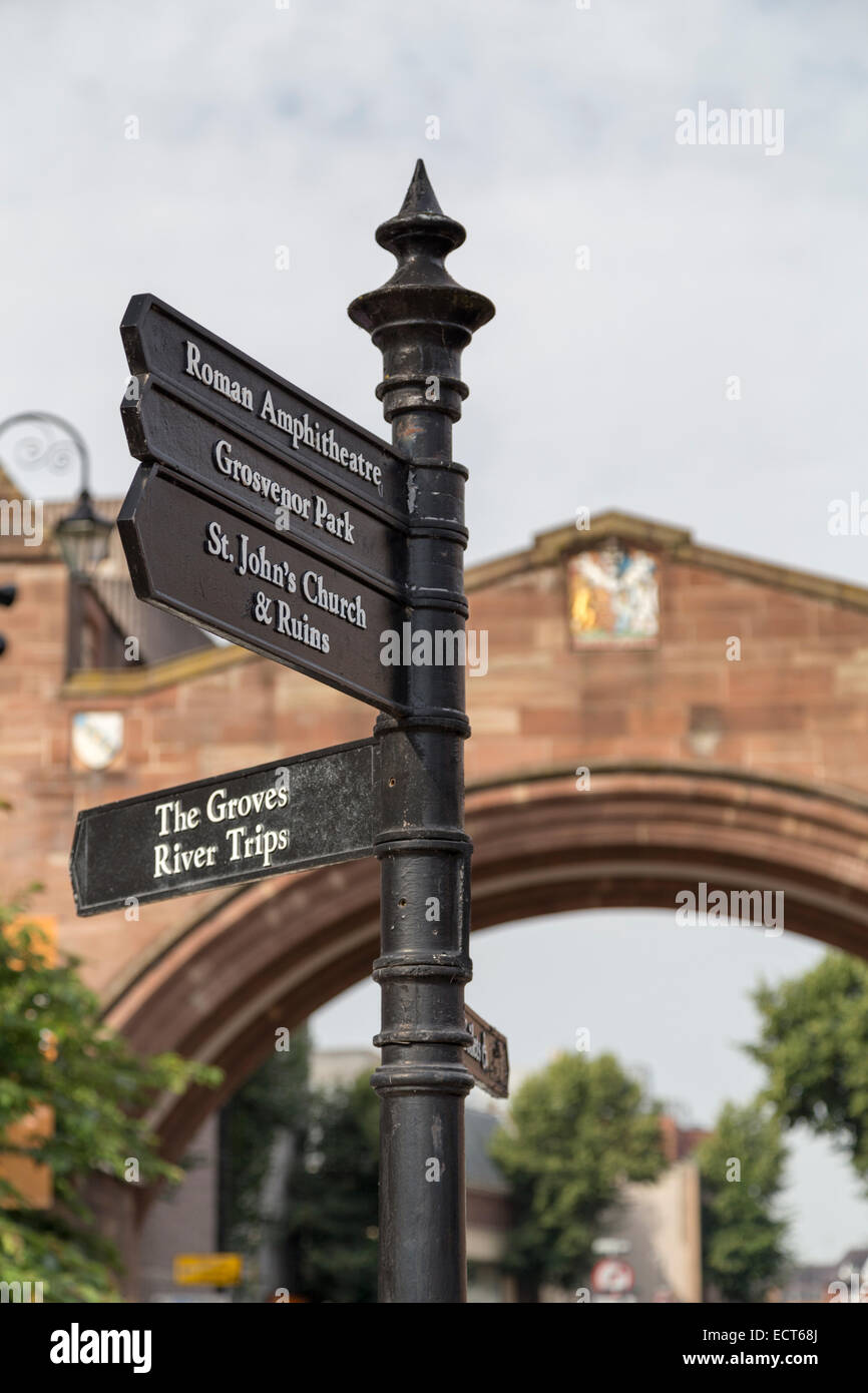 UK, Chester, Newgate arch and tourist signpost. - Stock Image