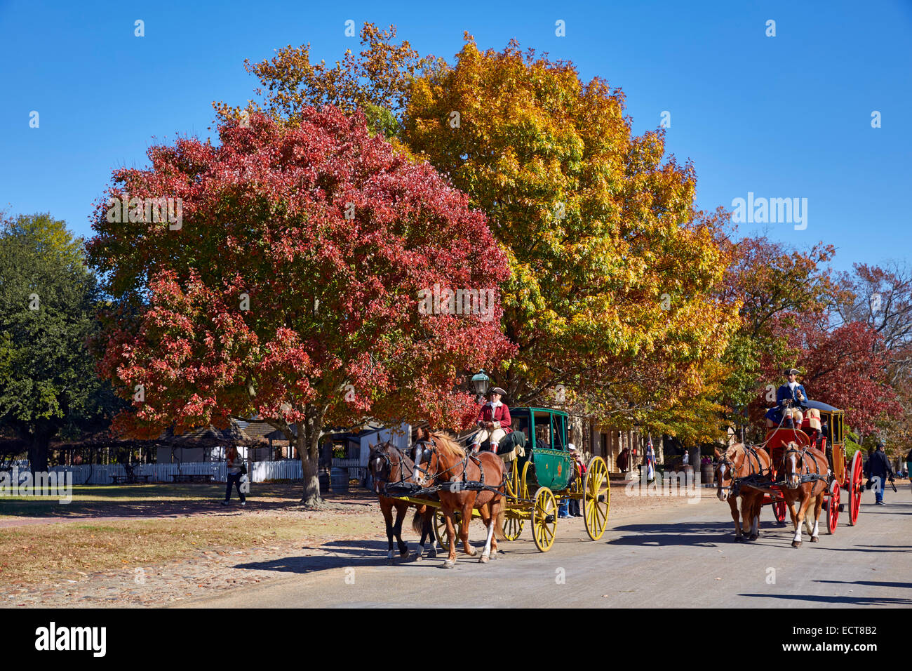 Horse drawn carriages on Duke of Gloucester Street. Colonial Williamsburg, Virginia, USA. - Stock Image