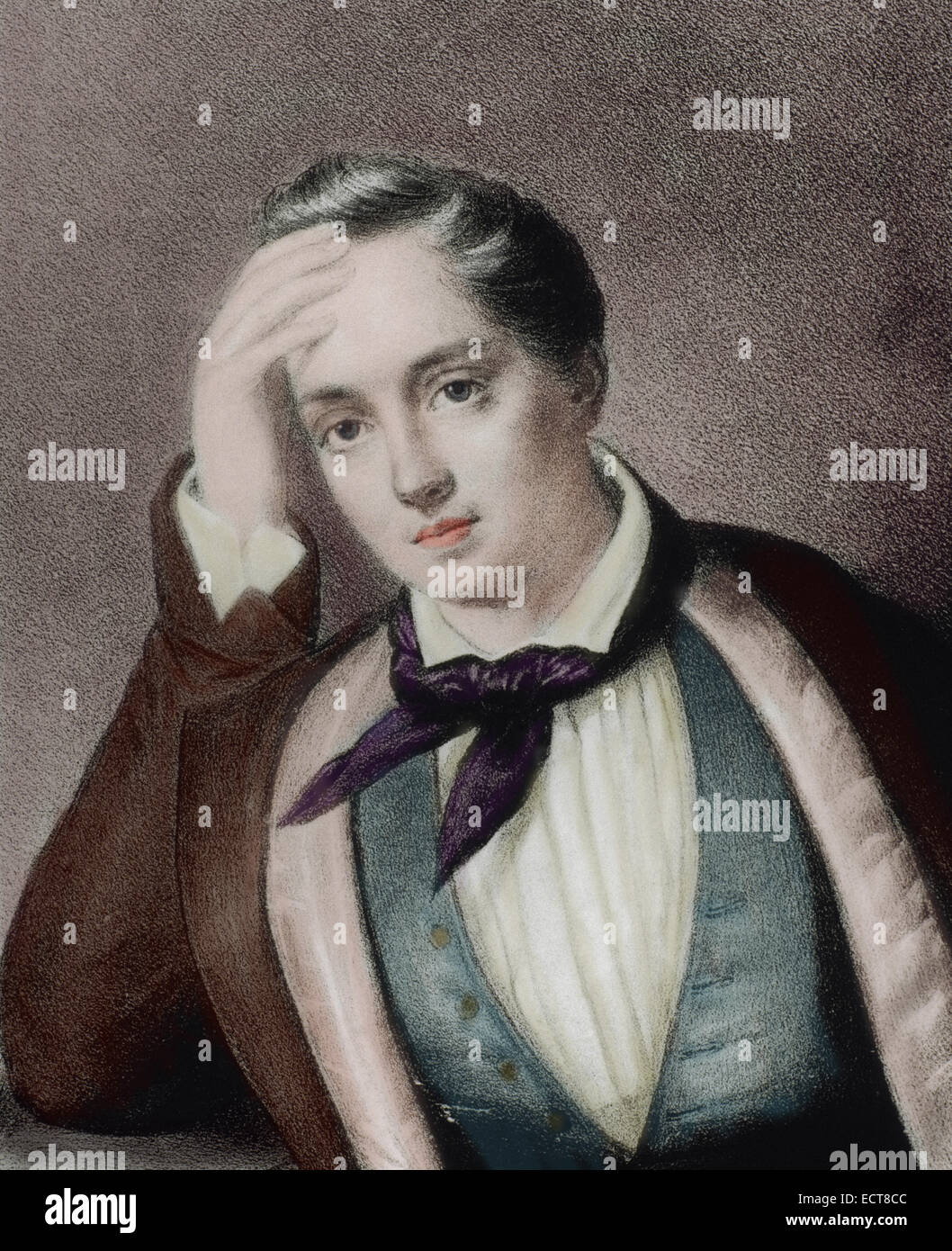 Yevgeny Baratynsky (1800-1844). Russian poet. Romanticism style. Portrait. Engraving. Colored. - Stock Image