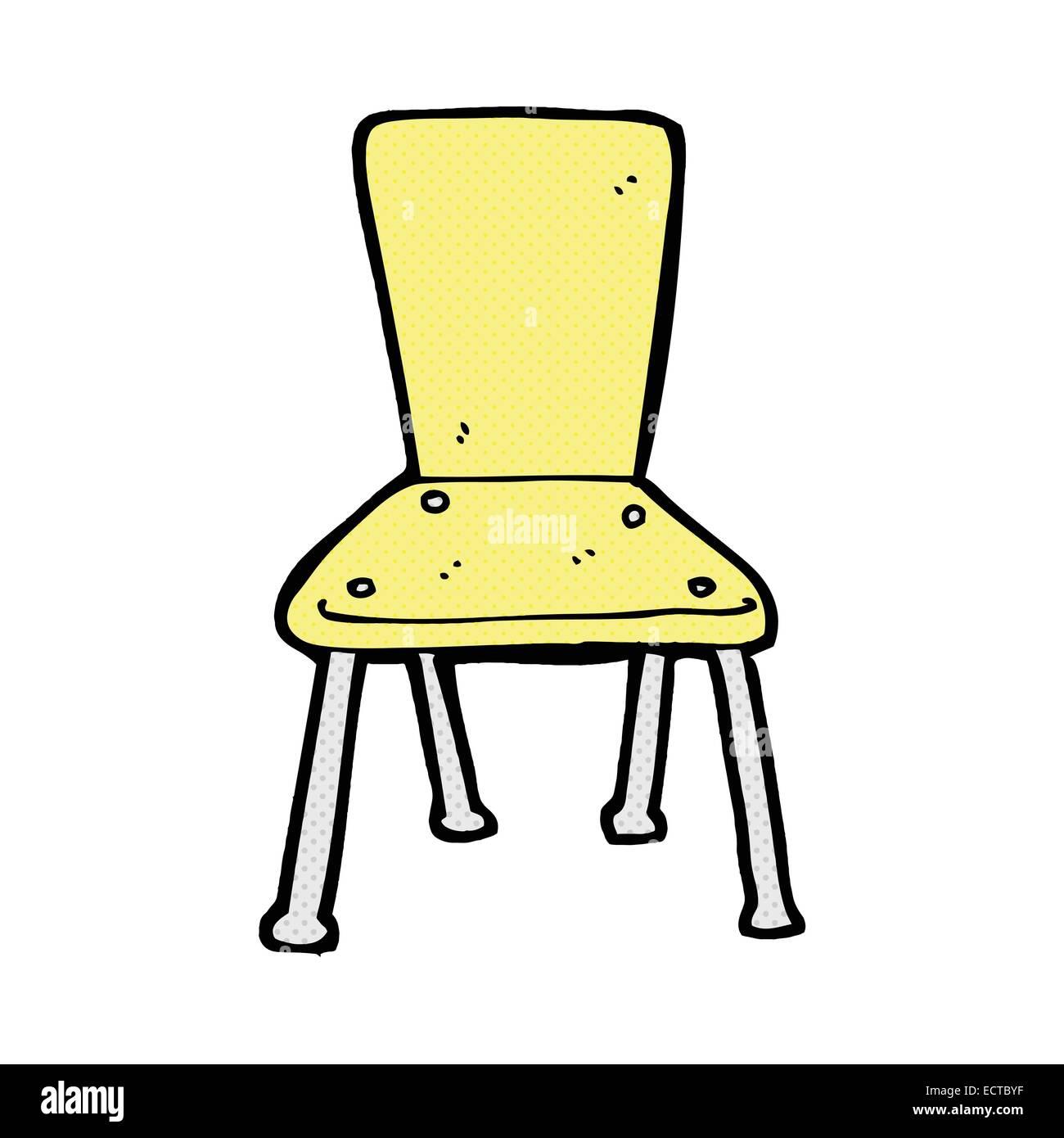 Retro Comic Book Style Cartoon Old School Chair Stock Vector