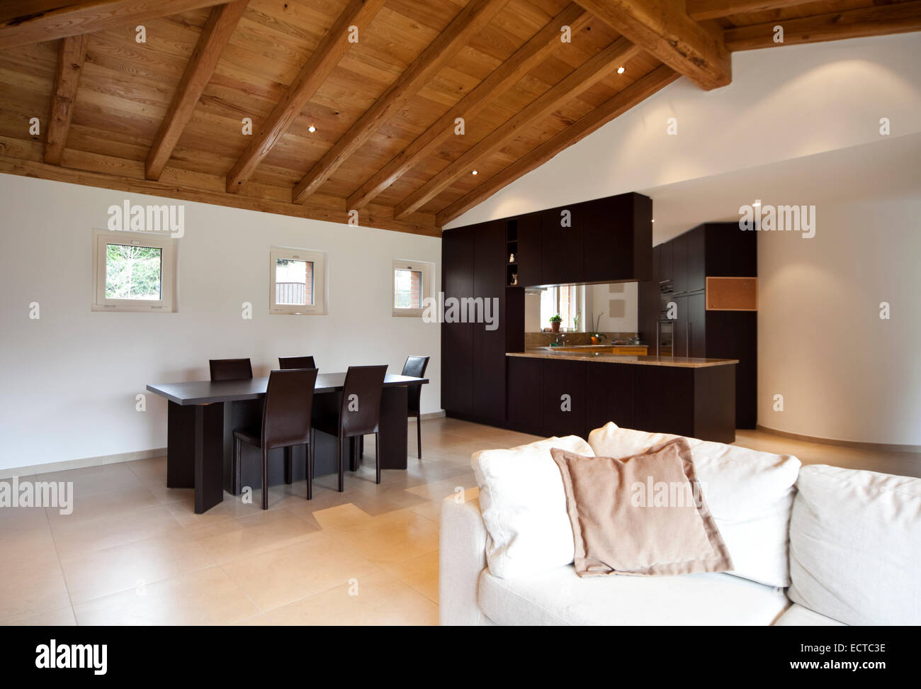 Modern Cozy Apartment Interior Open Space Wooden Roof Stock Photo Alamy