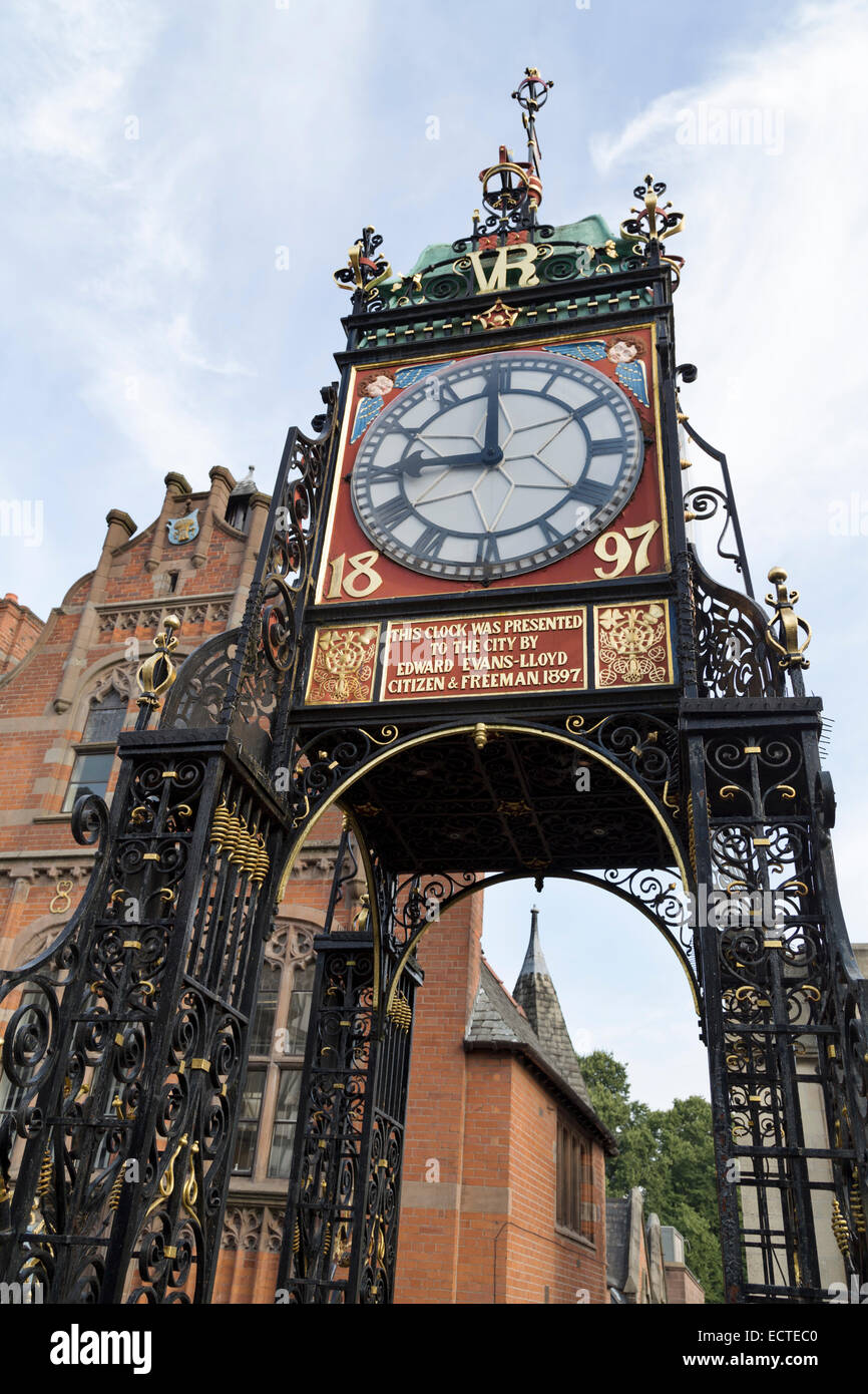 UK, Chester, the Jubilee clock, overlooking the main Chester highstreet, Eastgate. - Stock Image