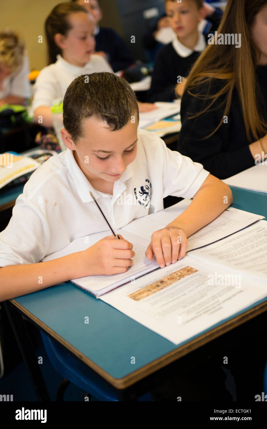 Secondary school education Wales UK: school children in a classroom history class lesson - Stock Image