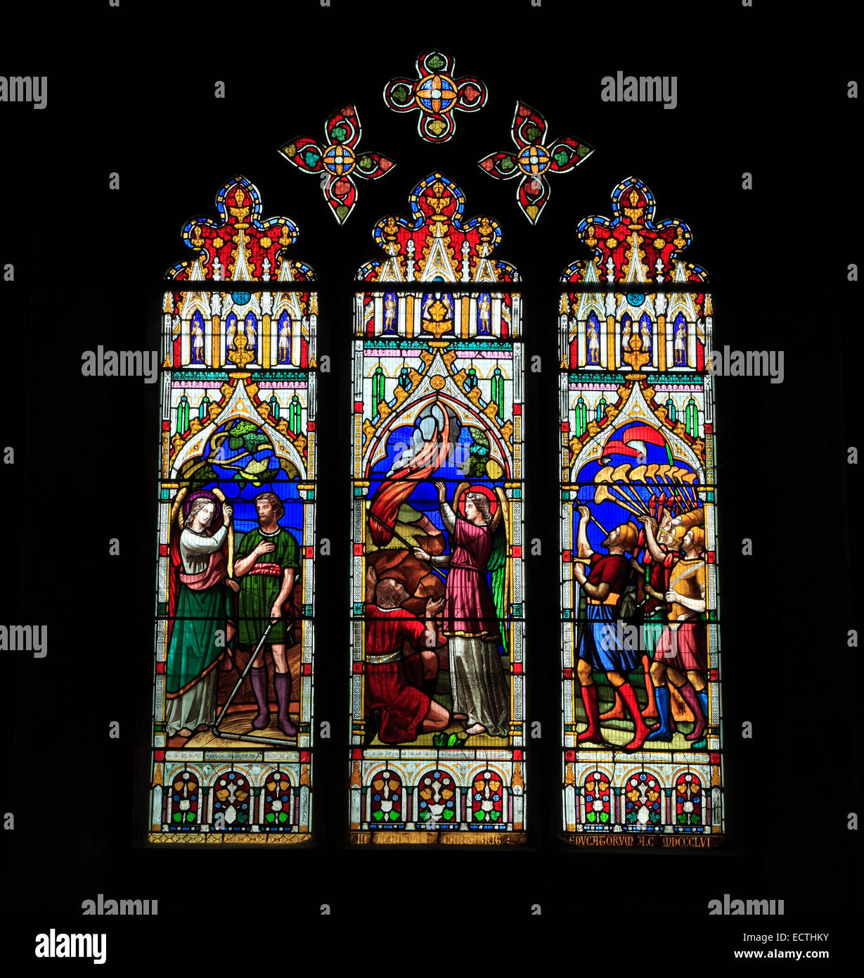 Stained Glass window, story of Gideon, with angel, food consumed by fire, army with Trumpets, by Thomas Ward, 1867, - Stock Image
