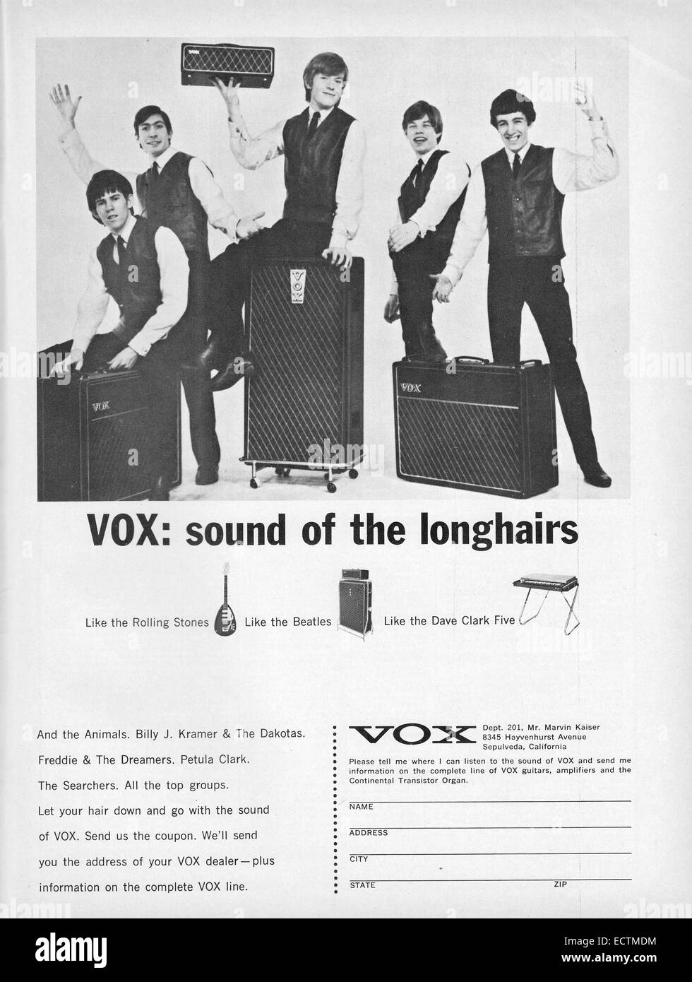A scan of an advertisement for Vox amplifiers featuring the Rolling Stones. From a 1965 issue of Down Beat magazine. - Stock Image