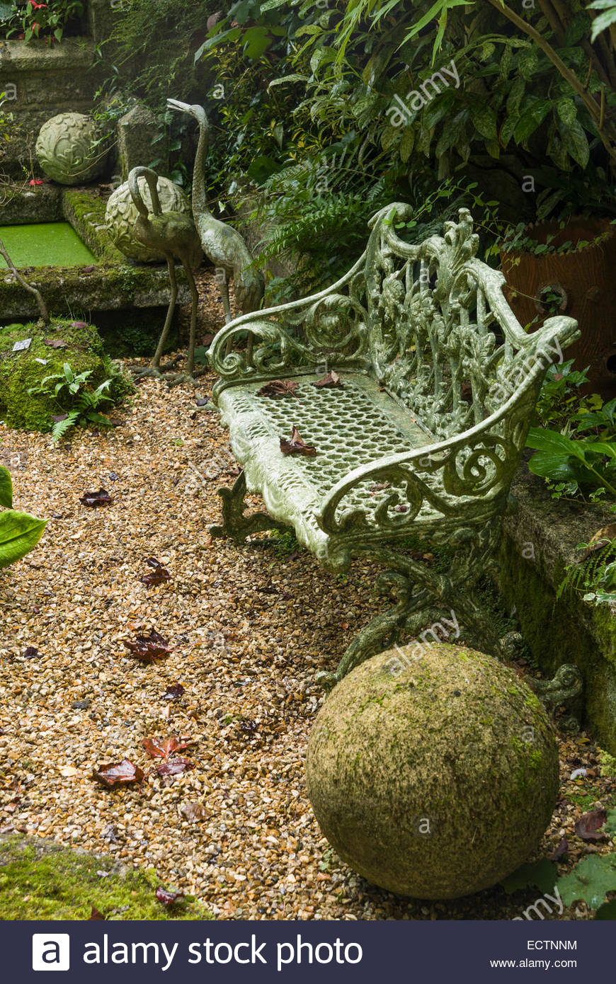 Sunken Garden full of interesting objects including stone herons and ...