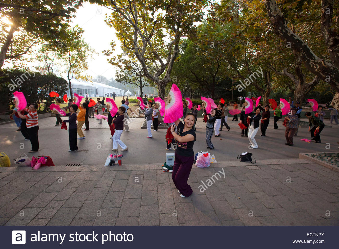 Shanghai, People practicing Tai Chi with fans, Fuxing park. - Stock Image