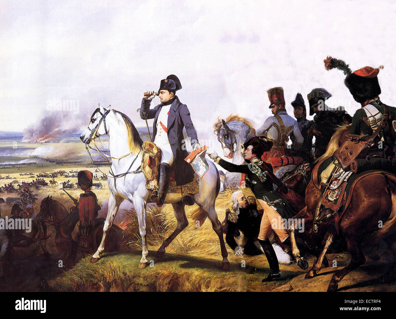 Napoleon at Wagram, painted by Horace Vernet - Stock Image