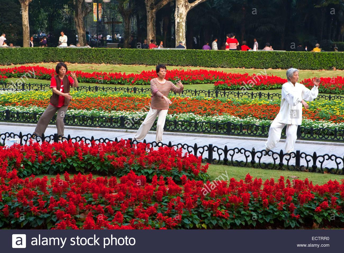 Shanghai, Tai Chi in Luxun park. - Stock Image
