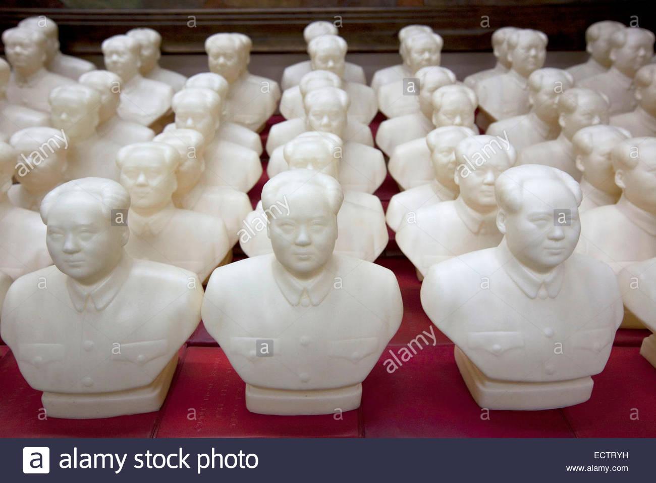 Shanghai, Mao statues in Propaganda Museum. - Stock Image