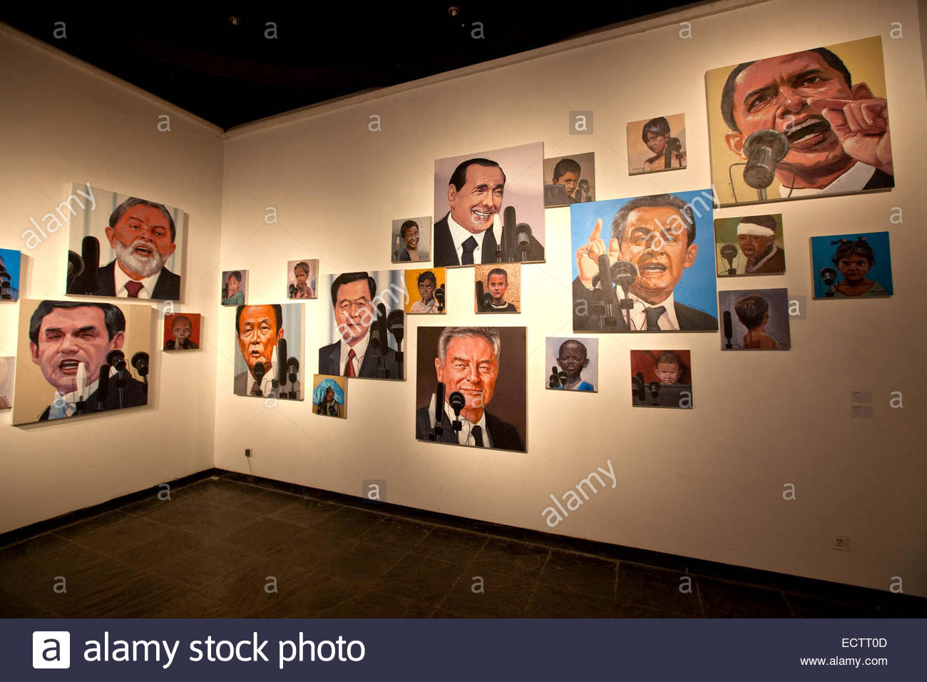 Shanghai, Portraits of world political leaders, paintings by Mao Yanyang. - Stock Image