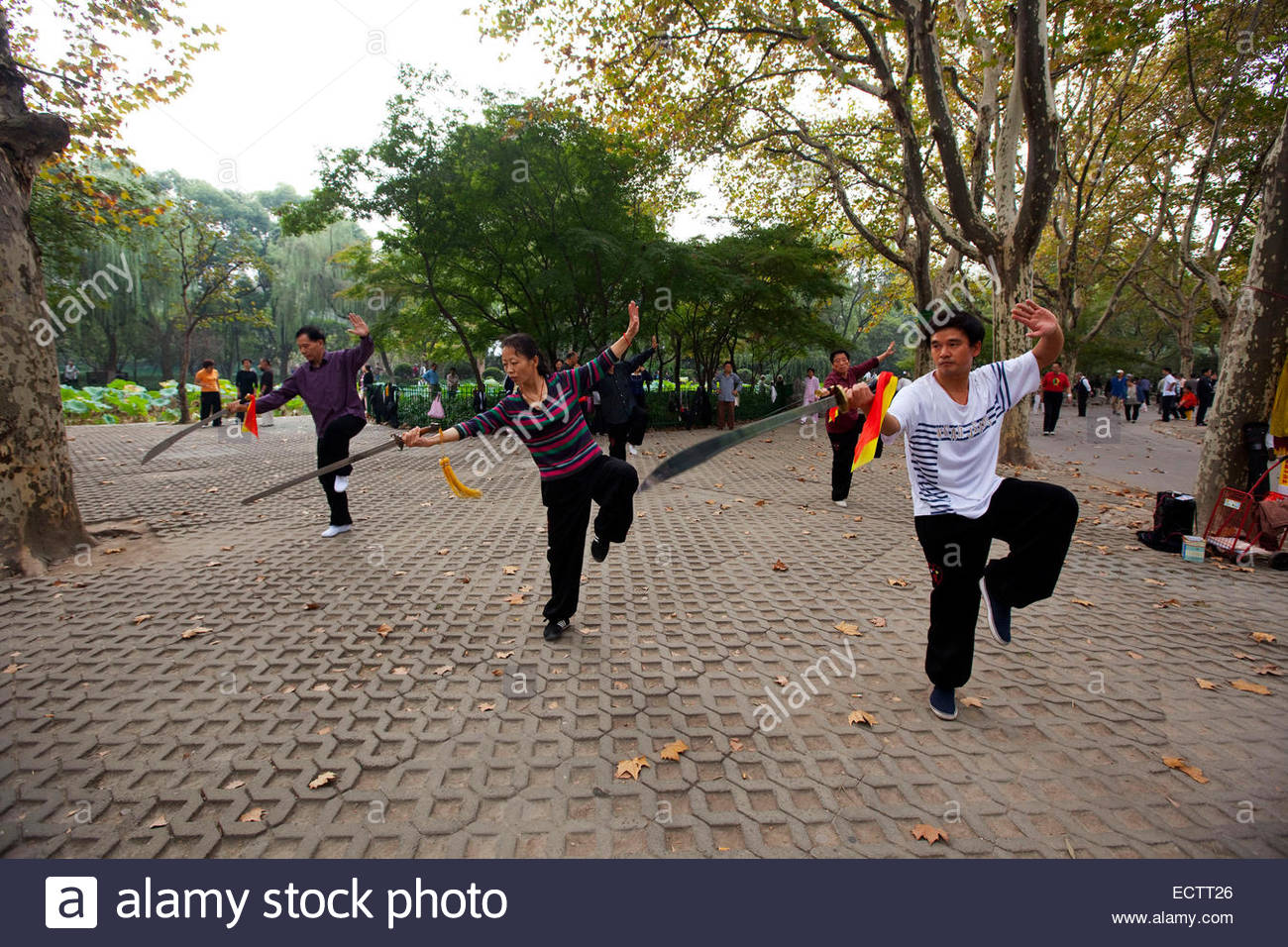 Shanghai, People practicing Tai Chi in Fengshuia Luxun park. - Stock Image